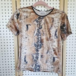 Vintage Velvet Velour Snake Print Top Shirt